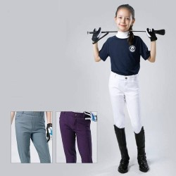 Kids Breeches, Half Leather Silicone Horse Riding Pants for Boy and Gril , Non-slip Wear-resistant Equestrian Equipment  - 1