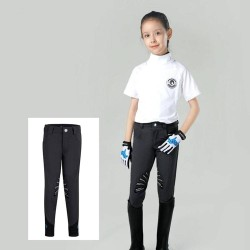 Kids Half Silicone Breeches, Butterfly Wing Silicone Design Non-slip Horse Riding Pants for Boys and Grils  - 2