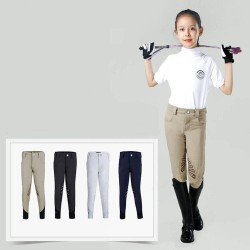 Kids Half Silicone Breeches, Butterfly Wing Silicone Design Non-slip Horse Riding Pants for Boys and Grils  - 1