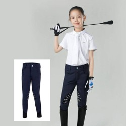 Kids Half Silicone Breeches, Butterfly Wing Silicone Design Non-slip Horse Riding Pants for Boys and Grils