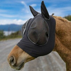 Horse Fly Mask Breathable Anti Mosquito Fly Elastic Protection Decor Face Shield, Horse Fly Mask With Ears Cover  - 4