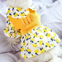 Dog Yellow Flower Corduroy Dress For Small Dog Puppy Pet Cat