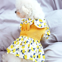 Dog Yellow Flower Corduroy Dress For Small Dog Puppy Pet Cat  - 4