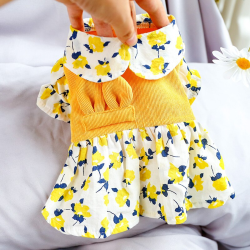 Dog Yellow Flower Corduroy Dress For Small Dog Puppy Pet Cat  - 5