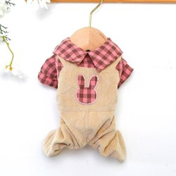 Dog Bear Plaid/Rabbit Plaid Overalls Clothes For Small Dog Puppy Pet Cat  - 4