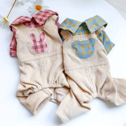 Dog Bear Plaid/Rabbit Plaid Overalls Clothes For Small Dog Puppy Pet Cat  - 5