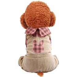 Dog Bear Plaid/Rabbit Plaid Overalls Clothes For Small Dog Puppy Pet Cat  - 2
