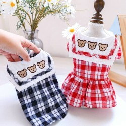 Dog Clothes Three Bears Plaid Dress/Shirt For Small Dog Puppy Pet Cat  - 8