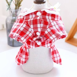 Dog Clothes Three Bears Plaid Dress/Shirt For Small Dog Puppy Pet Cat  - 4