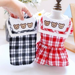 Dog Clothes Three Bears Plaid Dress/Shirt For Small Dog Puppy Pet Cat  - 9