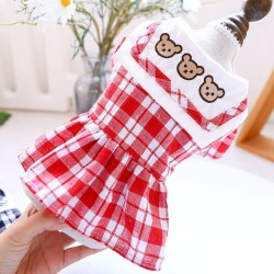 Dog Clothes Three Bears Plaid Dress/Shirt For Small Dog Puppy Pet Cat  - 5