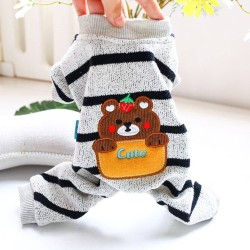 Dog Clothes Bear Striped Jacket Coat