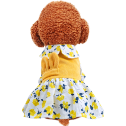 Dog Yellow Flower Corduroy Dress For Small Dog Puppy Pet Cat Zara - 1