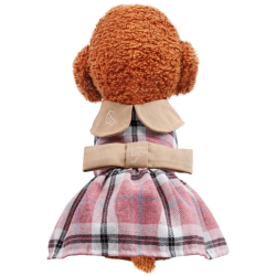 Dog Dress Embroidered Plaid Clothes Costume Princess Dresses