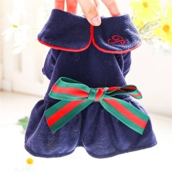 Dog College Style Bow Dress For Small Dog Puppy Pet Cat