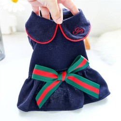 Dog College Style Bow Dress For Small Dog Puppy Pet Cat  - 5