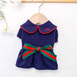 Dog College Style Bow Dress For Small Dog Puppy Pet Cat  - 6