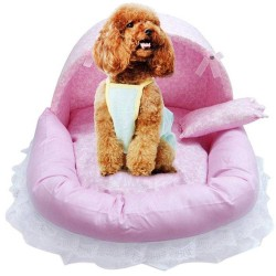 Pet Princess Lace Girl Dog Bed Washable Warm Puppy Cat Cute House Dog Kennel  - 8