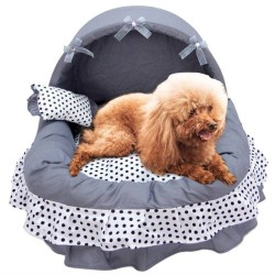 Pet Princess Lace Girl Dog Bed Washable Warm Puppy Cat Cute House Dog Kennel  - 9