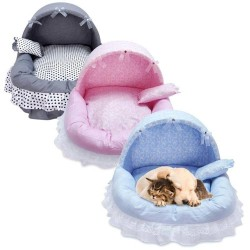 Pet Princess Lace Girl Dog Bed Washable Warm Puppy Cat Cute House Dog Kennel  - 11