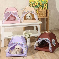 Dog Cat Bed House Girls Princess Dog Tent Nest Kennel Summer Pet Beds  - 5