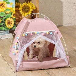 Dog Cat Bed House Girls Princess Dog Tent Nest Kennel Summer Pet Beds  - 1