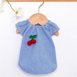 Pet Dog Clothes Cherry Cute Doll Crew Neck Shirt