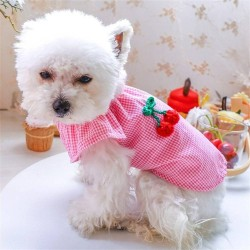 Pet Dog Clothes Cherry Cute Doll Crew Neck Shirt  - 5