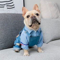 Dog Clothes Pet Jeans Clothes Dogs Cotton Stretch Jeans Tow-Legged Jacket Adjustable French Bulldog Clothing