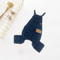 Dog Clothes Pet Jeans Clothes,Dogs Cotton Stretch Jeans Tow-Legged Jacket Adjustable French Bulldog Clothing  - 5