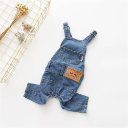 Dog Clothes Pet Jeans Clothes,Dogs Cotton Stretch Jeans Tow-Legged Jacket Adjustable French Bulldog Clothing  - 6