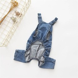Dog Clothes Pet Jeans Clothes,Dogs Cotton Stretch Jeans Tow-Legged Jacket Adjustable French Bulldog Clothing  - 7