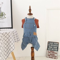 Dog Clothes Pet Jeans Clothes,Dogs Cotton Stretch Jeans Tow-Legged Jacket Adjustable French Bulldog Clothing  - 9