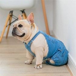 Dog Clothes Pet Jeans Clothes,Dogs Cotton Stretch Jeans Tow-Legged Jacket Adjustable French Bulldog Clothing  - 4