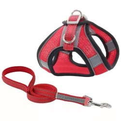 Pet Dog Harness Mesh Adjustable Dogs Harnesses Leash Suit  - 4