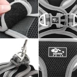 Dog Harness Adjustable Leashes Suit Reflective Mesh Pet Harnesses  - 9