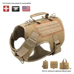 Tactical Dog Harness Pet Military Training Dog Vest German Shepherd Dog Harness  - 9