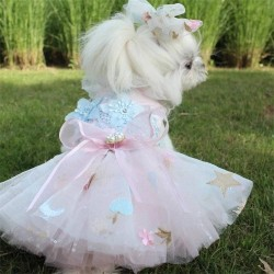 Dog Luxury Princess Dress Pet Weeding Dress Embroidery Lace Weeding Skirt