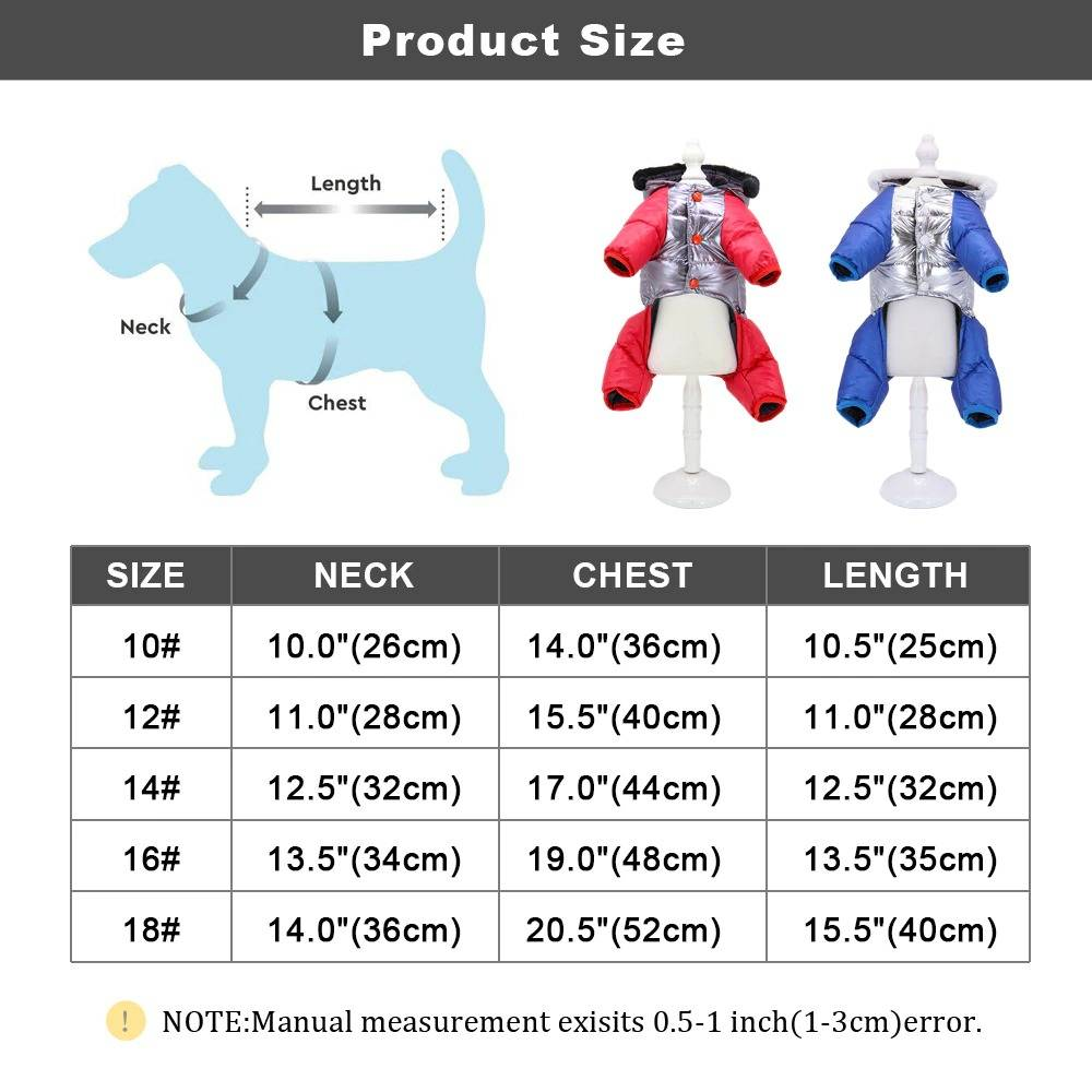 Winter Thicken Warm Dog Clothes Waterproof Puppy Dog Jacket Coat Reflective Small Medium Dogs Jumpsuit