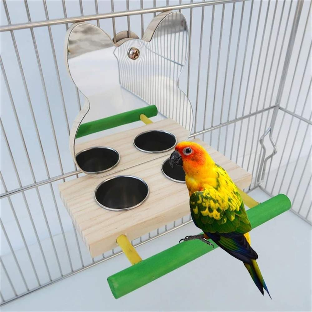 Bird Parrot Mirror Toy with Stainless Steel Feeding Cups Bird Wooden Perch Stand for Macaw African Greys Budgies Parakeet Cockat