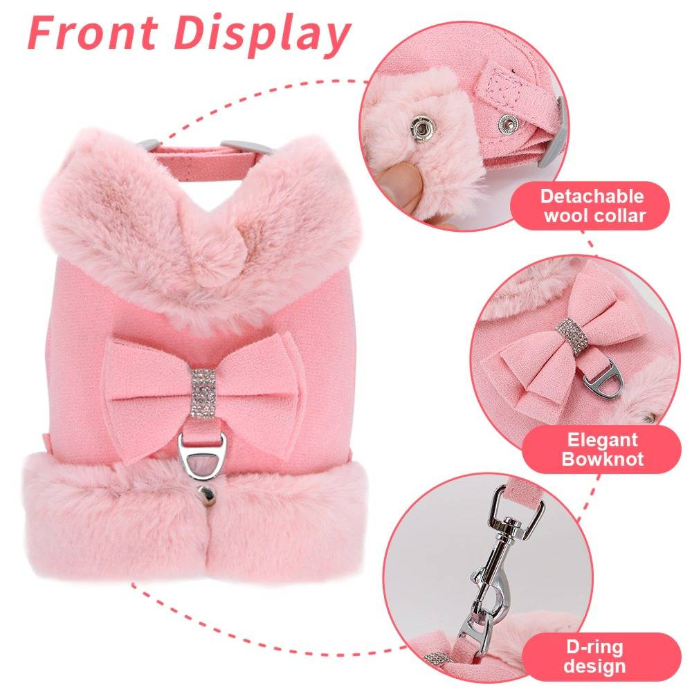 Pet Dog Cat Harness Leash Set Warm Winter Pets Puppy Clothes Vest Small Pet Clothing For Pug French Bulldog Cute Chihuahua Yorki