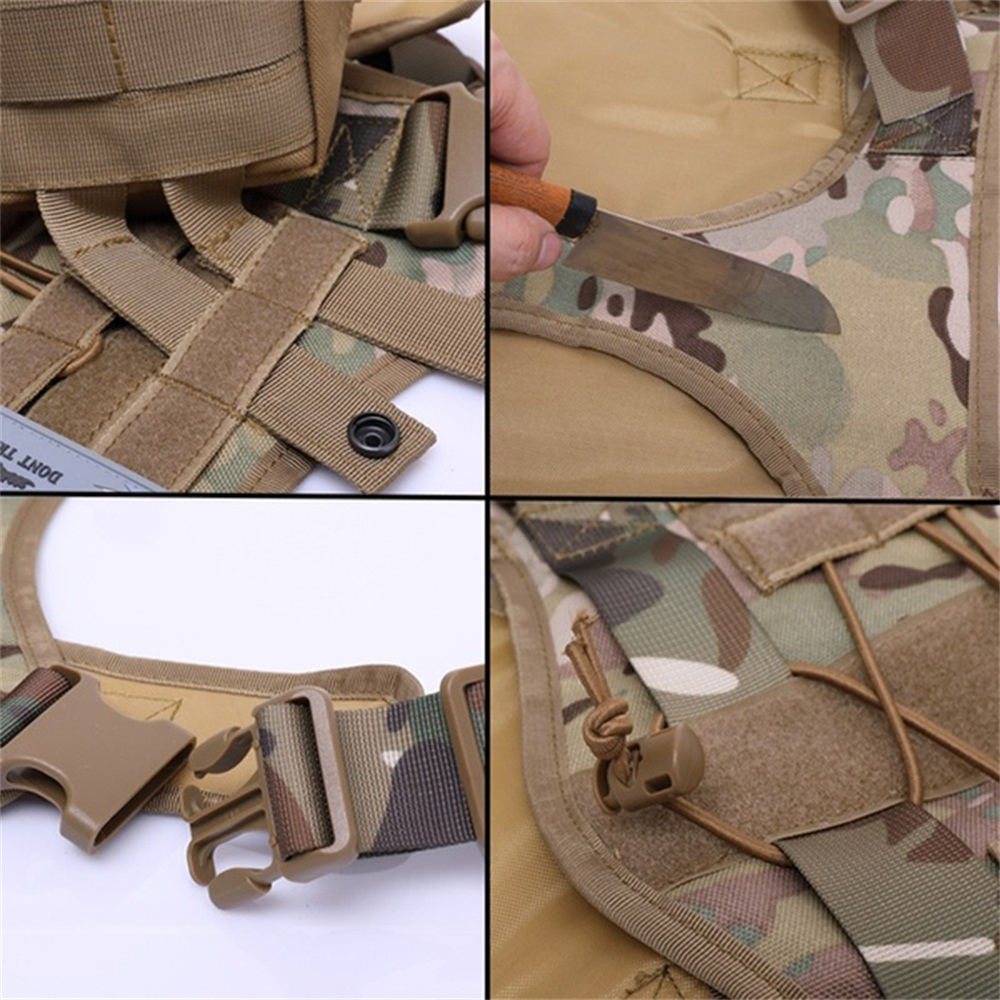 Tactical Service Dog Vest Training Hunting Adjustable Molle Nylon Water-resistan Military Patrol Dog Harness with Handle Hunting