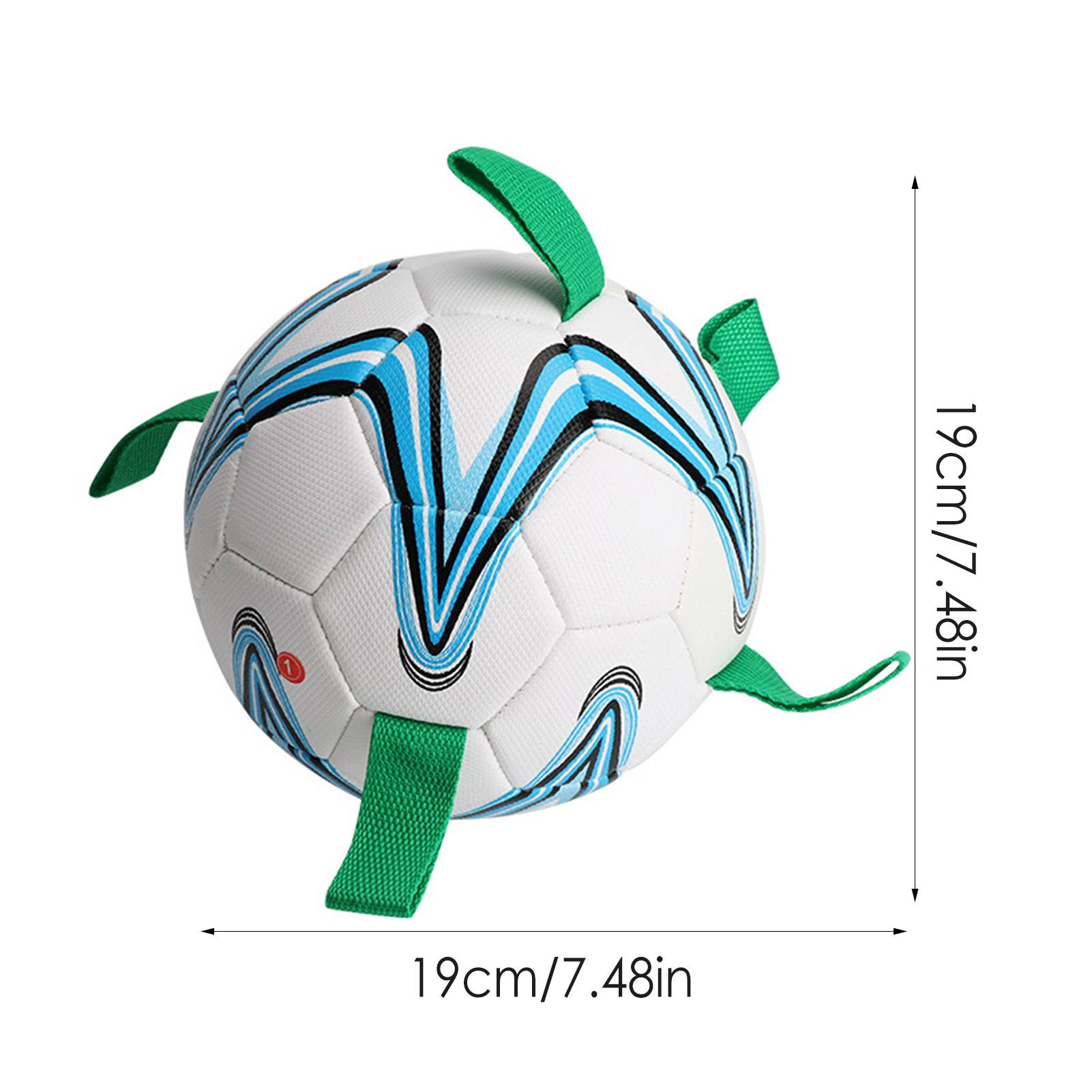 Dog Soccer Ball Toy Interactive Football Tug Water Toy for Small Medium Dog with Grab Tabs Outdoor Training Soccer