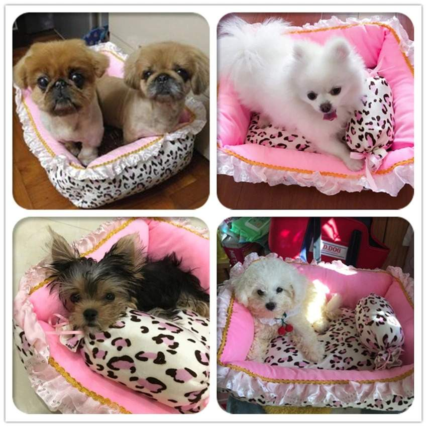 Luxury Princess Dog Bed Pet House Kennel Cat Nest Pink Sleeping Cushion With Pillow Teddy French Bulldog Puppy Basket Sofa Bed