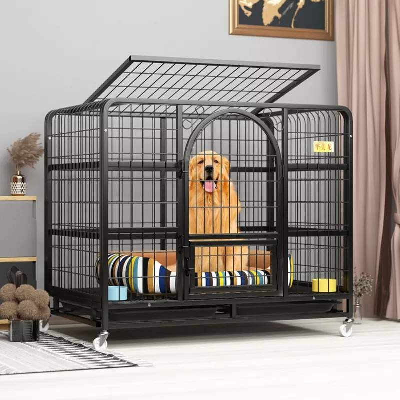 Dog Cage Large Free Space Domestic Pet Cat and Dog Crate Villa Indoor Large Size Dog House with Toilet