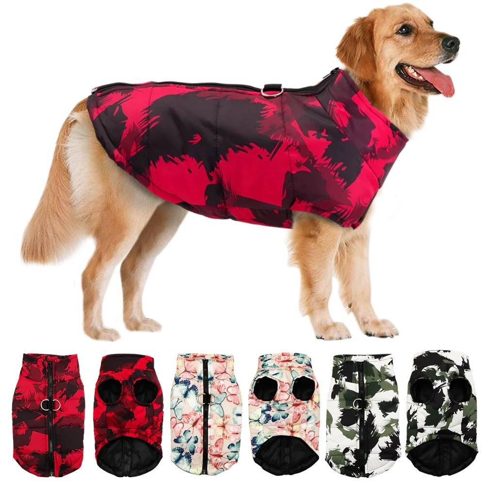 Pet Dog Clothes French Bulldog Winter Warm Jacket Coat Waterproof Dog Clothing Outfit Vest For Small Medium Large Dogs