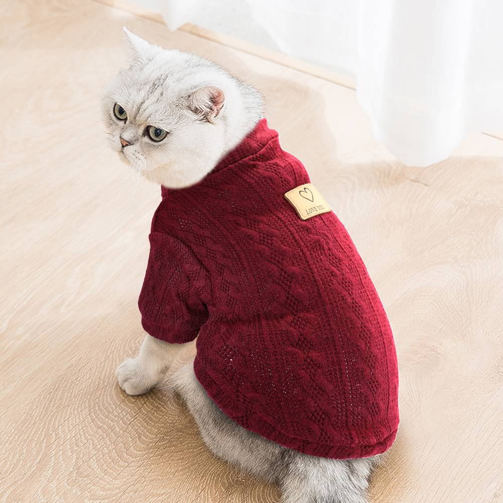 Pet Soft Sweater Knit Coat Autumn Winter Dog Clothes French Bulldog Chihuahua Small Dog Cat Clothing