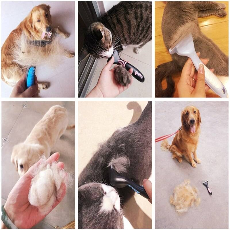 Pet Hair Remover Brush Cat Dog Grooming Comb Hair Finishing Trim Removal Dog Brush Tool Hair Cleaner For Dogs Cats