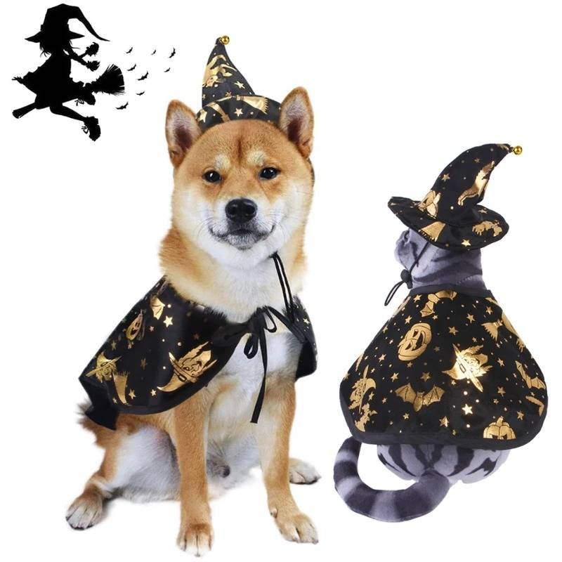 Funny Pet Costume Halloween Cosplay Print Wizard Cloak Dog Cat Costume Suit For Pet Dog Cat Hat Decoration Party Dressing