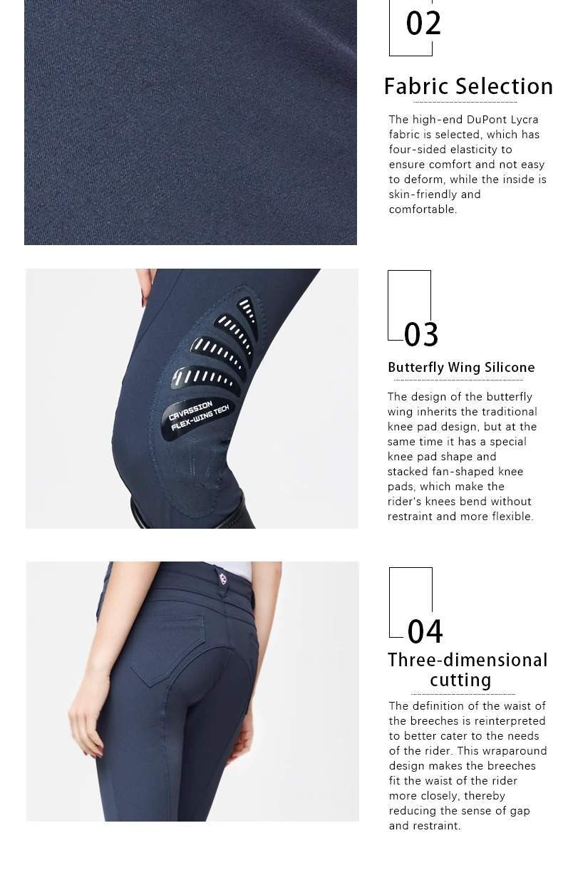 Equestrian Breeches, Butterfly Wing Design Semi Silicone Horse Riding Pants, Professional English Breeches